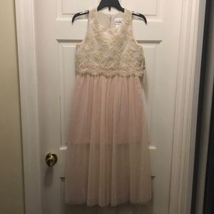 Rare Editions Dresses - Girl's glitter tulle gold and pink dress, size 10